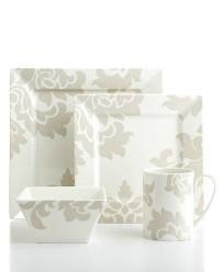 [Martha Stewart Collection Dinnerware Lisbon Grey 4 Piece Square Place Setting] (Martha Stewart Dish)