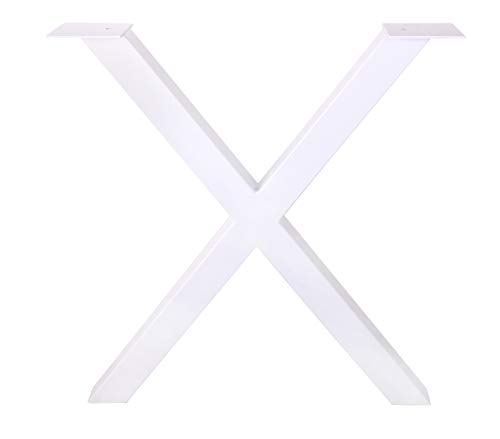 ECLV 28'' Dining Table Legs, X-Shaped Steel Table Legs, Office Table Legs,Computer Desk Legs,Industrial Kitchen Table Legs,Set of 2,White by ECLV (Image #1)
