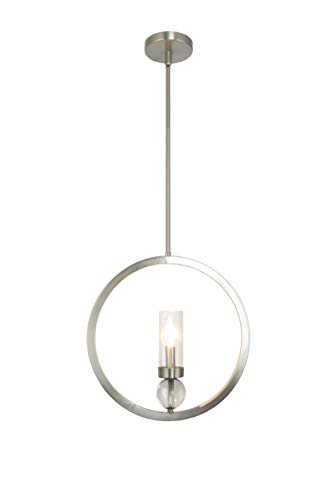 (New! Decor Living, Adjustable Deluxe Round Pendant, One Light, Satin Nickel)