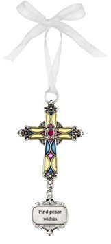 Ganz Find Peace Within Stained Glass Cross Ornament Size: 3 1/2 inches