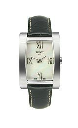 Tissot Generosi-T Black Leather Mother-of-Pearl Dial Wome...