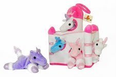 (Plush Unicorn Castle with Animals - Five (5) Stuffed Animal Unicorns in Play Carrying Castle Case - White)