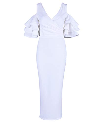 (FLYCOOL Women's Sexy Maxi Length Bandage Dress with Zipper Deep V Neck Tight Backless Party Wrap Clubwear Dress White S )