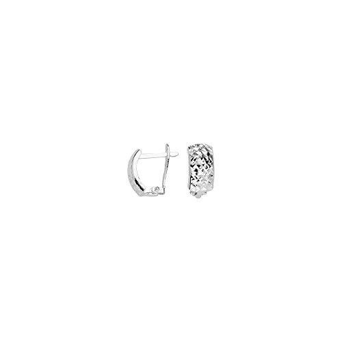 10k White Gold Criss Cross Diamond-cut Clip Back Earrings by JewelryWeb