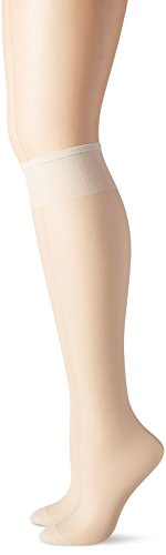 - Hanes Hosiery Silk Reflections Silky Sheer Reinforce Toe Knee High 775 (Pearl/One Size) Pack of Two
