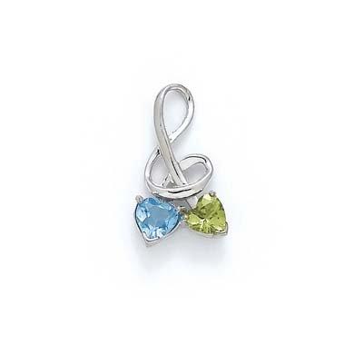 Sterling topaze bleue argentée et pendentif JewelryWeb-Péridot