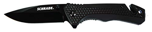 Schrade SCH704 7.8in High Carbon Stainless Steel Folding Knife with 3.2in Drop Point Blade and Rubber Aluminum Handle for Outdoor Survival, Camping and EDC ()