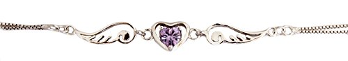 Anklet: Silver Color Angel Wing Heart Anklet - Simulated Amethyst Glass Cubic Zirconia (9 Inches)