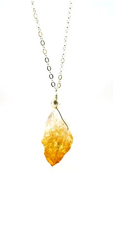 Citrine Amethyst Quartz Crystal Point Pendant Necklace on 18 Inch Sterling Silver Chain Golden Amber Gemstone Chakra
