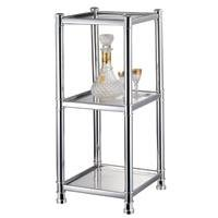 Review HOMEBASIX HS04A-CH 3-Tier Glass Shelving Unit, Chrome By Homebasix by Homebasix