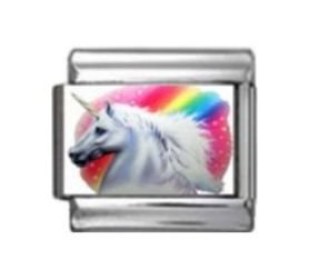 Stylysh Charms Unicorn Rainbow Photo Italian 9mm Link NC008 (Charm Bracelet Rainbow Italian)