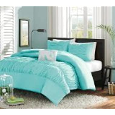 Turquoise, Blue, Aqua Girls Full / Queen Comforter Set (4 Piece Bed In A Bag)