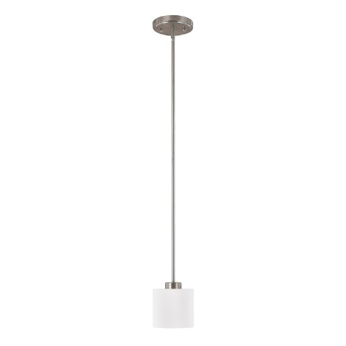 Capital Lighting 4340BN-103 Steel 1-Light Mini-Pendant, Brushed Nickel Finish with Soft White Glass