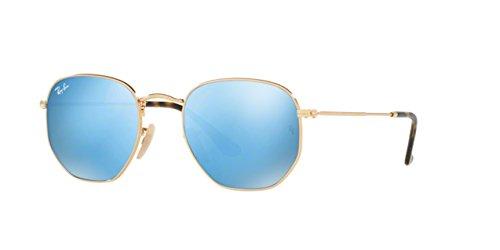 (Ray-Ban Mens Hexagonal Flat Lens Sunglasses (RB3548) Gold Shiny/Blue Metal - Non-Polarized - 51mm)
