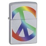Zippo Peace Brushed Chrome Lighter - 24475
