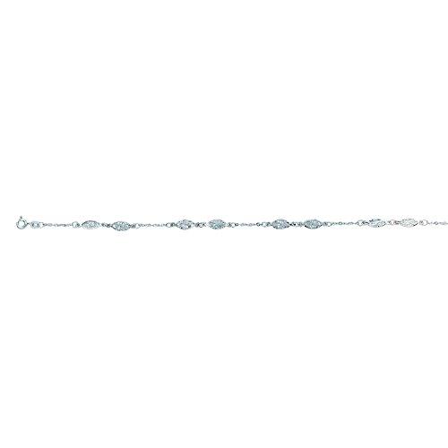 14k White Gold 10 Inch Polish Finish Oval Filigree Anklet Bracelet by Diamond Sphere