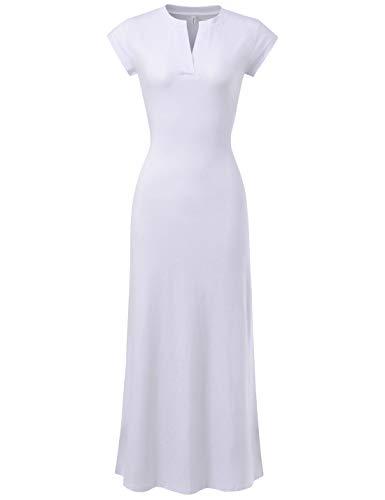 (NEARKIN (NKNKWBD910 Women Short Sleeve V-Neck Side Slit Stretchy Casual Maxi Dress White US M(Tag Size XL))