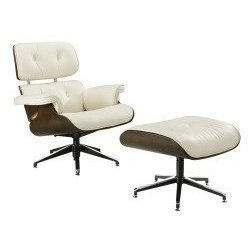 Attirant Modern Lounge Chair And Ottoman Set  White