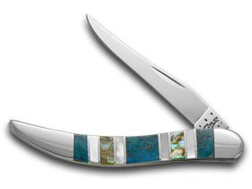 CASE XX Exotic Peacock Coral Abalone Genuine Mother Pearl Toothpick Pocket Knife (Mother Of Pearl Toothpick)