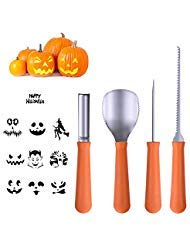 (Halloween Pumpkin Carving Tools [Set of 4], LKDEPO Premium Stainless Steel Pumpkin Carving Set [10 Different Pumpkin Carving Pattern)