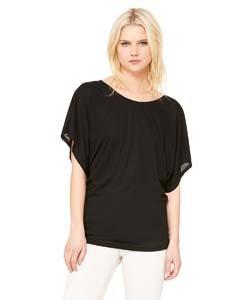 Bella womens Flowy Draped Sleeve Dolman T-Shirt(8821)-BLACK-S