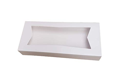 "12.5"" Length x 5.5"" Width x 2.25"" Height White Paperboard Auto-Popup Window Bakery Box by MT Products (Pack of 15)"