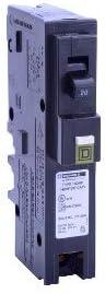 Square D Homeline Single Pole 20A Plug-On Neutral Combination Arc Fault Circuit Breaker