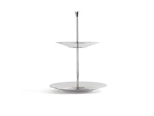 (Zilverstad Serving Stand Mini, 2-Tier, Stainless Steel, Silver, 13.6 x 13.6 x 18.8 cm)