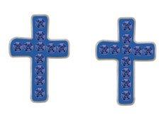 Small Blue Enamel & Crystal Cross Stud Earrings (1 Pair)