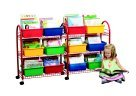Metal Mobile Bookcase (Childcraft Metal Mobile Leveled Library Unit, Trays Sold Separately, 57.5
