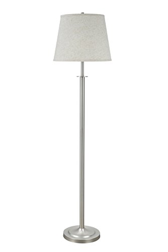 Metal Matte Floor Lamp - Aspen Creative 45005, 1-Light Metal Floor Lamp, Transitional Design in Matte Brushed Nickel, 60