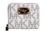 Michael Kors Vanilla PVC Zip Around Bifold Wallet
