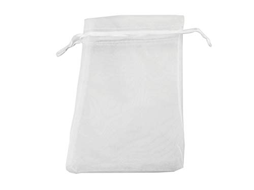QIANHAILIZZ 50 Pack 12 x 16 Inch Drawstring Flower Bags Organza Jewelry Gift Pouch Candy Pouch Drawstring Wedding Favor Bags (White)