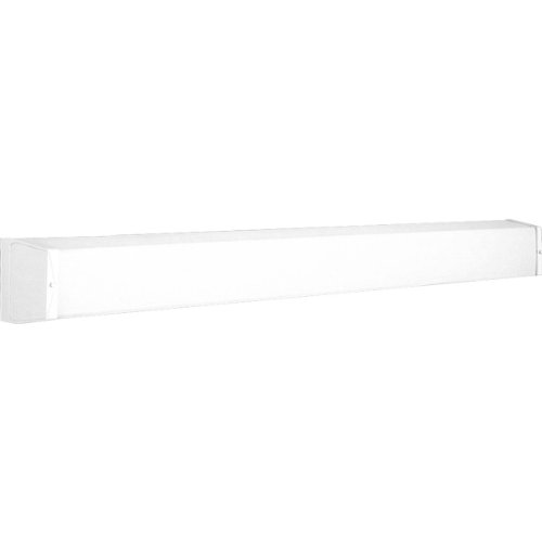 (Progress Lighting P7133-30EB Utility Bath Bracket with Ribbed Acrylic Diffuser and Knockout For G.C.O, White)