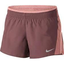NIKE Women's 10K 3.5'' Running Shorts (Smokey Mauve/Rust Pink/Wolf Grey, L)