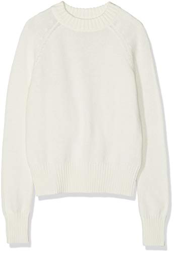 Meraki Women's Boxy Crew Neck Sweater,  Cream, S (US 4-6)
