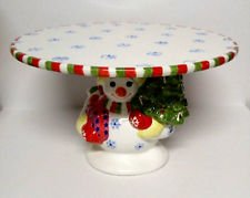 Christopher Radko Holiday Traditions Snowman Footed Cake Plate