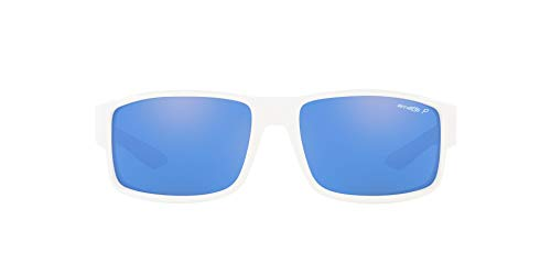 White Sunglasses Arnette - Arnette Men's, Polarized Rectangular Sustainable Sunglasses, White Frame/Blue Lens, 59MM