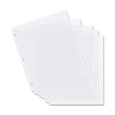 Binder Pockets, Poly, H/20 Shts, 5 per Pack, Clear [Set of 3] Business Source