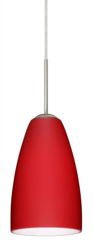 (Besa Lighting 1JT-1511RM-LED-SN 1X6W GU24 Riva 9 LED Pendant with Ruby Matte Glass, Satin Nickel Finish )