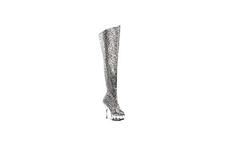 Men Thick Top go Size Femme Dancer go High Fille Mixte Boots Pole Dancer splay Grey Women Long De Heels Ggtboutique Co Shoes Totty White heeled Bottes Cubing Big Silver Adulte d6qS0AX