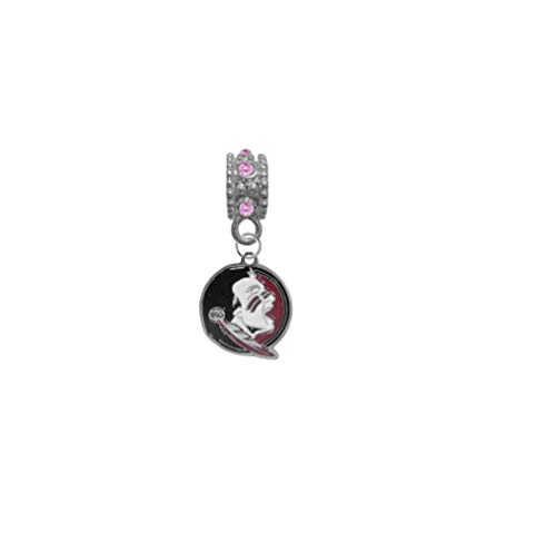 Florida State Seminoles FSU New Logo Pink Rhinestone/Gem Charm with Connector - Universal European Slide On Charm - Classic & Original Style Perfect for Bracelets, Necklaces, DIY Jewelry
