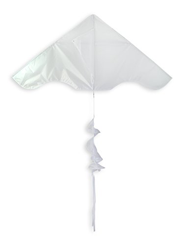 In the Breeze Colorblock Delta Kite with Twister Tail- Single Line Kite - 55-Inch, White