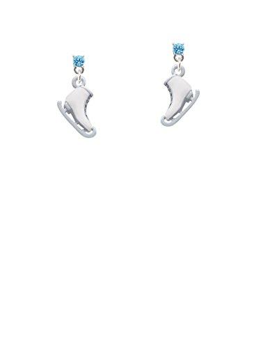 - 3-D White Ice Skate Hot Blue Crystal Post Earrings