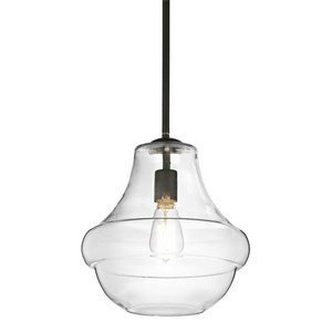 Kichler Lighting 42044OZ Everly 1-Light Mini Pendant, Olde Bronze Finish with Clear Glass Shade by Kichler Lighting