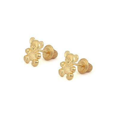 (14K Yellow Gold Teddy Bear Screw Back Stud Earrings For Little Girls)