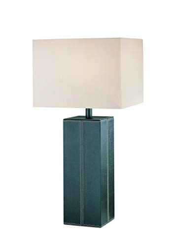 Lite Source LS-2937DBRN/LTR Leatherman Collection Table Lamp, Dark Brown Leather with White Fabric Shade