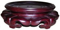 (Dark Red Mahogany Color Lotus Design Vase Stand (4.5