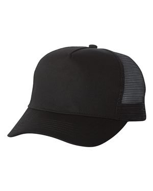 Mega Cap 6886 - Five Panel PET Mesh Back Trucker Black