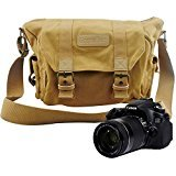 #4: ZENQAI Digital Camera Bag Canvas Portable Shockproof Secure Storage Khaki with Shoulder Strap